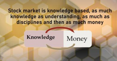 स्टॉक मार्केट ज्ञान आधारित है, जितना ज्ञान समझ में आता है, उतना ही अनुशासन और फिर उतना पैसा